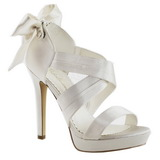 White Satin 12 cm LUMINA-29 High Heeled Evening Sandals