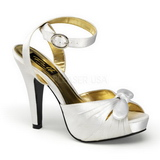 White Satin 12 cm PINUP COUTURE BETTIE-04 High Heels Platform