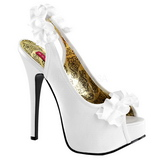 White Satin 14,5 cm Burlesque TEEZE-56 Platform High Heeled Sandal Shoes