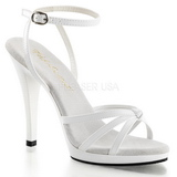 White Shiny 12 cm FLAIR-436 Womens High Heel Sandals