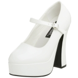 White Shiny 13 cm DOLLY-50 Mary Jane Platform Pumps