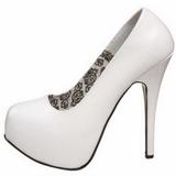 White Shiny 14,5 cm Burlesque BORDELLO TEEZE-06 Platform Pumps