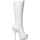 White Shiny 15,5 cm DELIGHT-2023 Platform Knee Boots