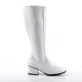 White Shiny 5 cm GOGO High Heeled Womens Boots for Men