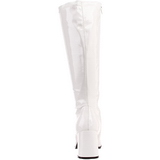 White Shiny 8,5 cm GOGO-300 High Heeled Womens Boots for Men