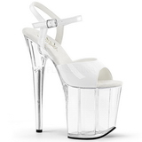 White Transparent 20 cm Pleaser FLAMINGO-809 High Heels Platform