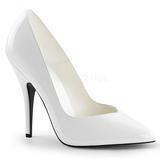White Varnished 13 cm SEDUCE-420V pointed toe pumps with high heels