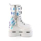 White Vegan 12,5 cm ETERNAL-115 demonia ankle boots wedges