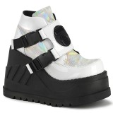 White Vegan 12 cm STOMP-15 lolita ankle boots wedge platform