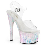 White transparent 18 cm ADORE-708SPLA-2 Exotic stripper high heel shoes