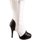 Wit 11,5 cm SPLENDOR-130 dames enkellaarsjes met plateauzool
