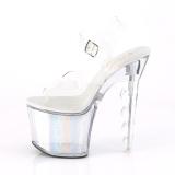 Wit 18 cm FLASH-708SCH pole dance sandalen met LED verlichting plateau