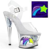 Wit 18 cm MOON-708RSS Neon plateau schoenen dames met hak