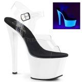 Wit 18 cm SKY-308UV Neon plateau schoenen dames met hak