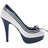 Wit Blauw 13 cm LOLITA-13 Hoge Avond Pumps Schoenen met Hak
