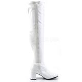 Wit Gelakt 8 cm GOGO-3000 Overknees Dames Laarzen