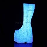Wit Glitter 18 cm STACK-301G demonia laarzen - unisex cyberpunk laarzen