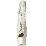 Wit Kunstleer 18 cm ADORE-1021 dames enkellaarsjes met plateauzool