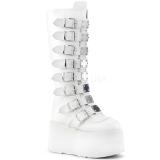Wit Kunstleer 9 cm DAMNED-318 plateau laarzen dames met gespen