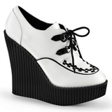 Wit Kunstleer CREEPER-302 wedge creepers schoenen sleehakken