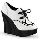 Wit Kunstleer CREEPER-302 wedge creepers schoenen sleehakken