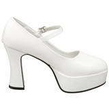 Wit Lak 11 cm MARYJANE-50 Mary Jane Plateau Pumps Hoge Hak