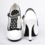 Wit Lak 12 cm PINUP SECRET-15 Mary Jane Plateau Pumps Hoge Hak
