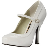 Wit Lak 12 cm rockabilly PRETTY-50 Dames pumps met lage hak