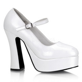 Wit Lak 13 cm DOLLY-50 Mary Jane Plateau Pumps Hoge Hak