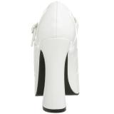 Wit Lak 13 cm DOLLY-50 Mary Jane Plateau Pumps Hoge Hak