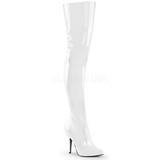 Wit Lak 13 cm SEDUCE-3010 overknee laarzen met hakken