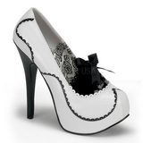 Wit Lak 14,5 cm Burlesque BORDELLO TEEZE-01 Plateau Pumps Hoge Hak