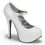 Wit Lak 14,5 cm Burlesque BORDELLO TEEZE-07 Plateau Pumps Hoge Hak
