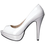 Wit Lakleer 13,5 cm CHLOE-01 grote maten pumps schoenen
