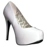 Wit Lakleer 14,5 cm Burlesque TEEZE-06W mannen pumps voor brede voeten