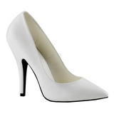 Wit Mat 13 cm SEDUCE-420 pleaser pumps met puntneus