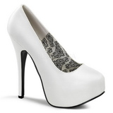 Wit Mat 14,5 cm Burlesque BORDELLO TEEZE-06 Plateau Pumps Hoge Hak