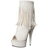 Wit Mat 15 cm DELIGHT-1019 dames enkellaarsjes met franjes