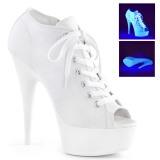 Wit Neon 15 cm DELIGHT-600SK-01 canvas sneakers met hoge hakken