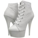 Wit Neon 15 cm DELIGHT-600SK-02 canvas sneakers met hoge hakken