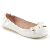 Wit OLIVE-03 ballerinas platte damesschoenen met vlinderdas