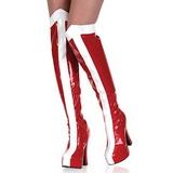 Wit Rood 13 cm ELECTRA-2090 overknee laarzen med plateauzool