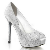 Wit Strass 13 cm PRESTIGE-16 Plateau Pumps Open Teen