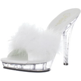 Wit Transparant 13 cm LIP-101-8 Platform Hoge Dames Slippers