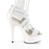 Wit elastische band 15 cm DELIGHT-669 pleaser schoenen met hak