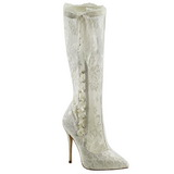 Wit kant stof 13 cm AMUSE-2012 Knie Hoge Dameslaarzen