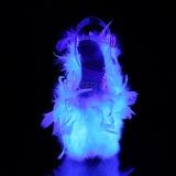 Wit maraboe veren 20 cm FLAMINGO-808F paaldans schoenen met hak