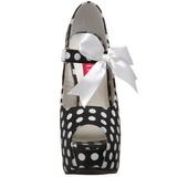 Witte Punten 14,5 cm Burlesque TEEZE-25 Zwart Plateau Pumps met Hakken