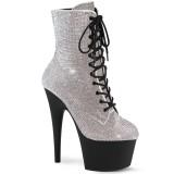 Witte strass steentjes boots 18 cm ADORE-1020RS pleaser boots hoge hakken plateau