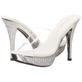 Zilver 11,5 cm ELEGANT-401 Strass steentjes plateau slippers dames